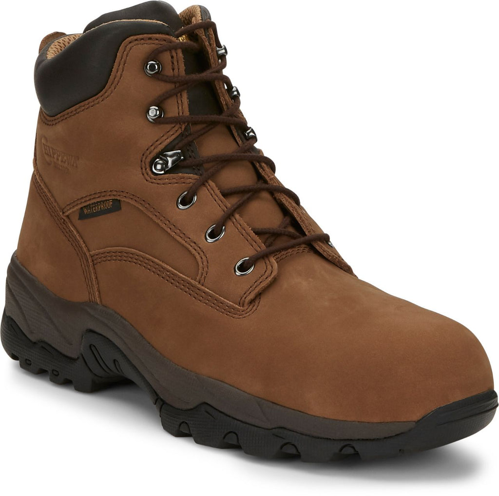 "Chippewa 6"" brown leather lace up hiking boot"