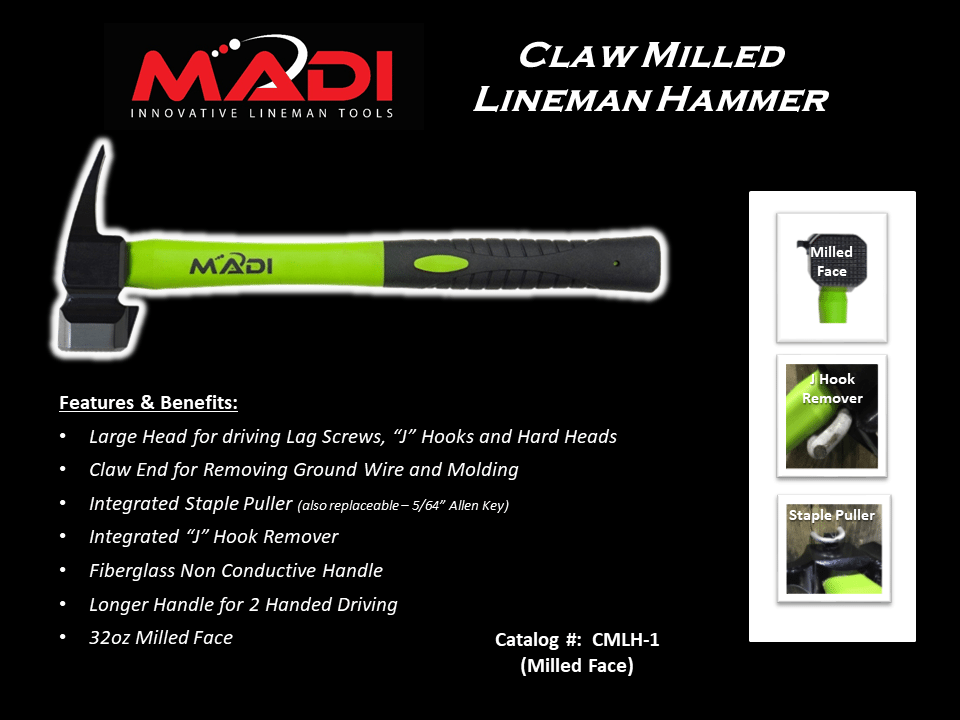 MADI Claw Milled Lineman Hammer 32oz