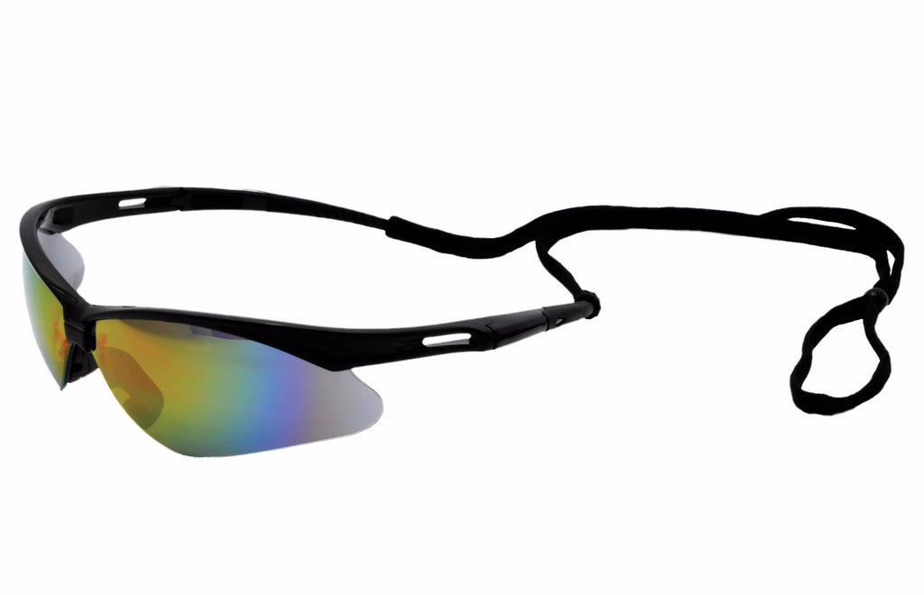 ERB Octane Black Blue Mirror Safety Glasses #15332