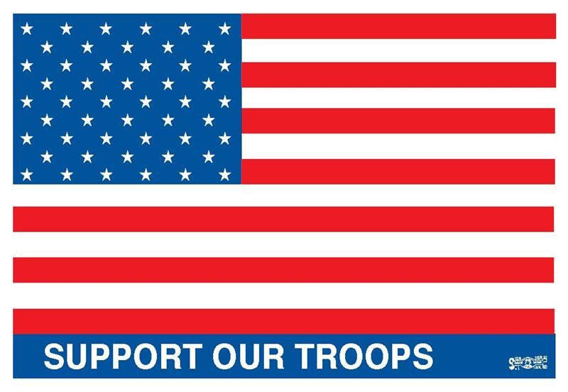 Support Our Troops Hard Hat Sticker