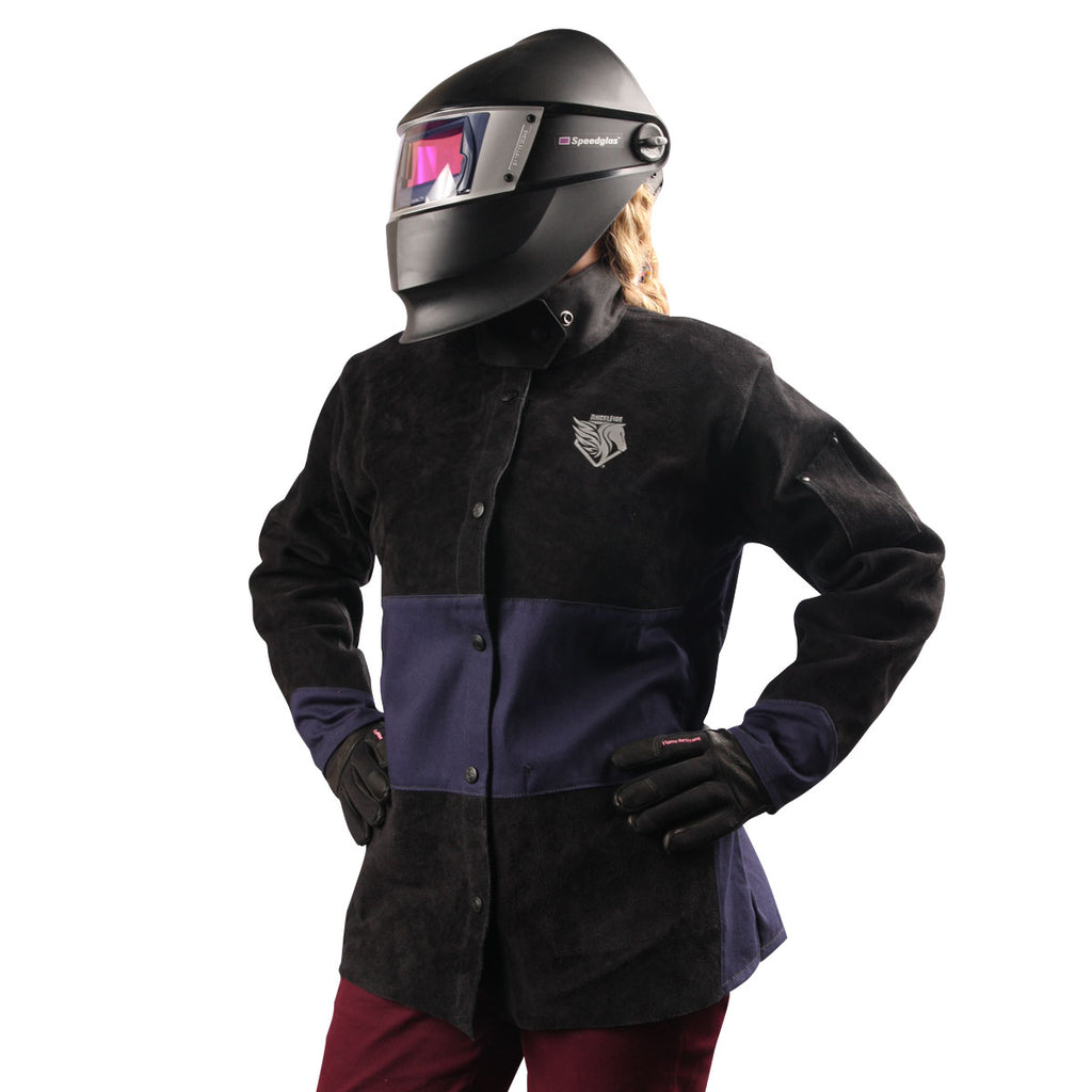 Black Stallion AngelFire® Women's Hybrid Welding Jacket, Navy & Black