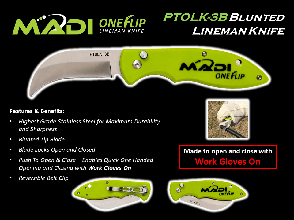 MADI ONE FLIP Lineman Knife - Blunted