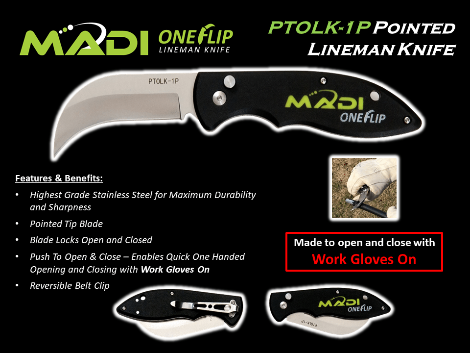 MADI OneFlip Pointed Lineman Knife PTOLK-1P