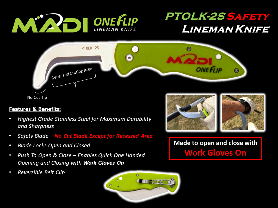 MADI OneFlip Lineman Knife - Safety Blade PTOLK-2S
