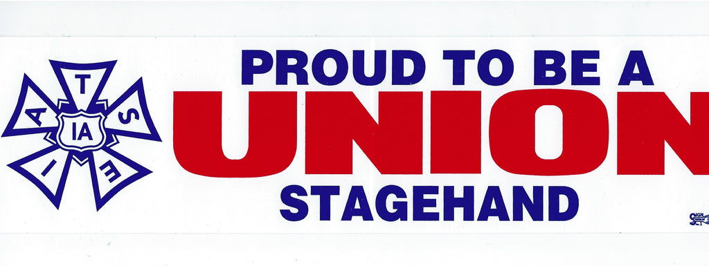 proud to be a union stagehand bumper sticker