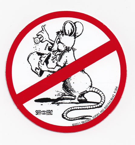 'No Happy Rat' Hard Hat Sticker #R304. '