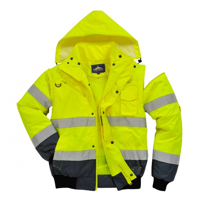 Portwest Hi-Vis Contrast 3-in-1 Bomber Jacket Yellow/Navy