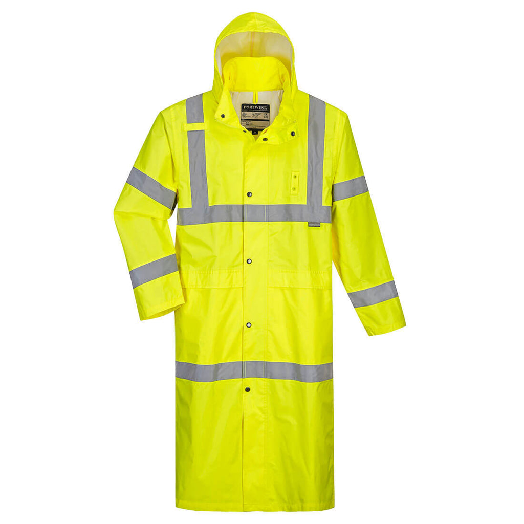 PORTWEST HI-VIS LONG RAIN COAT 48""
