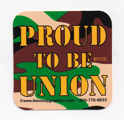 'Proud To Be Union' Camo Hard Hat Sticker #S69