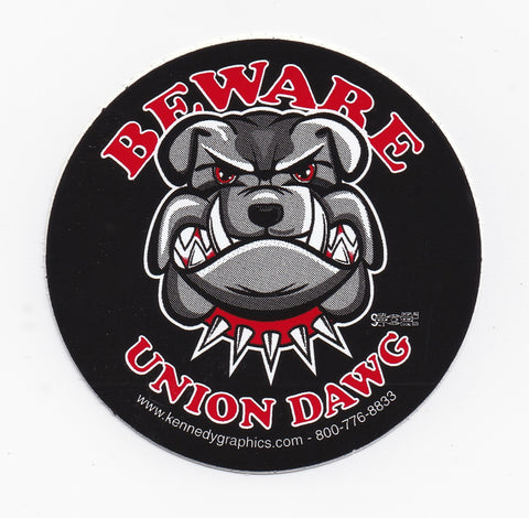 'Beware of Union Dawg' Hard Hat Sticker #S97
