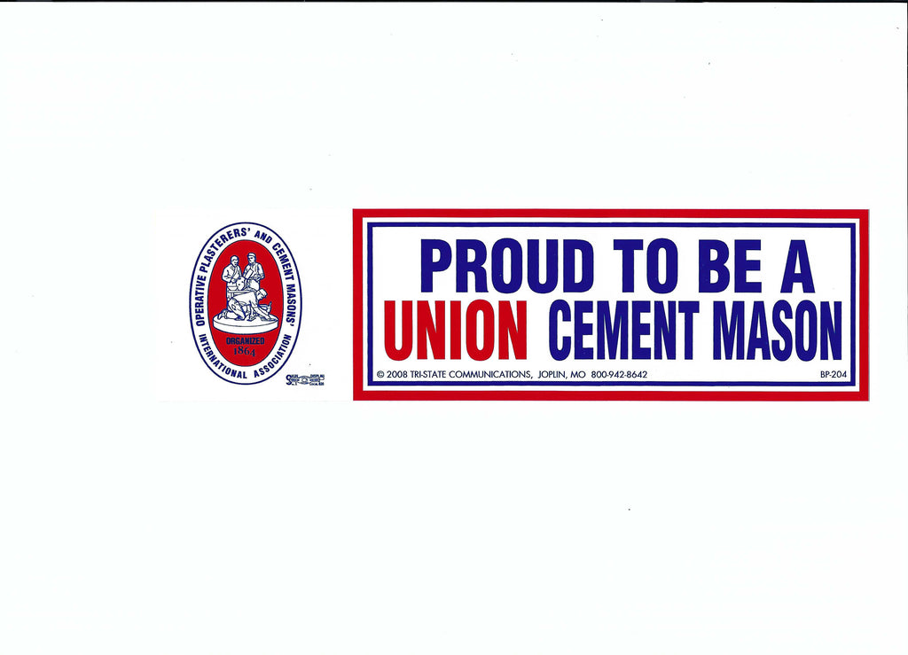 'Proud to be a Union Cement Mason' Bumper Sticker #BP-204
