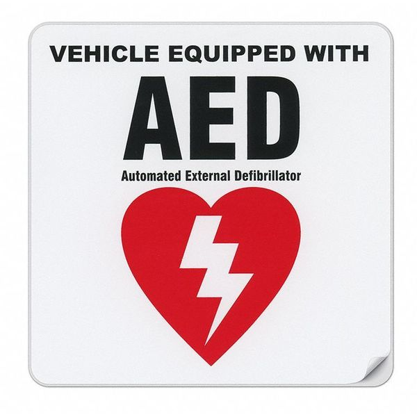 Vehicle Equipped With AED Sticker