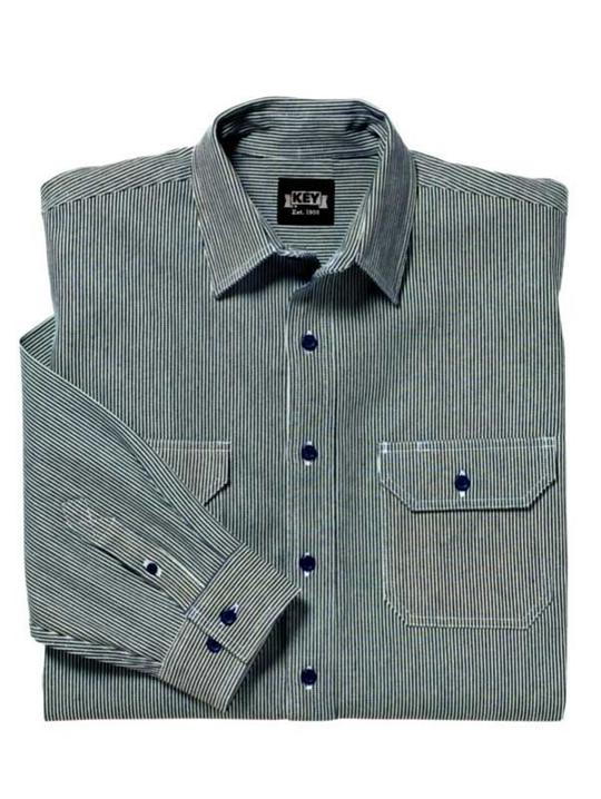 Key Hickory Ironworker Pinstripe Denim Shirt #575.47