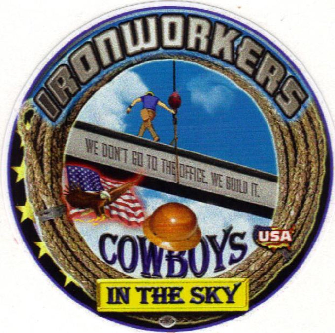 Ironworkers cowboys in the star hard hat sticker