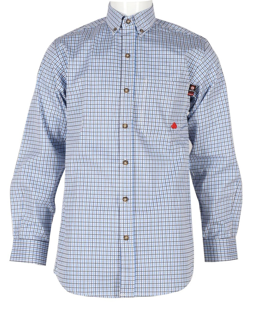 Forge FR Light Blue Plaid Button Down Work Shirt