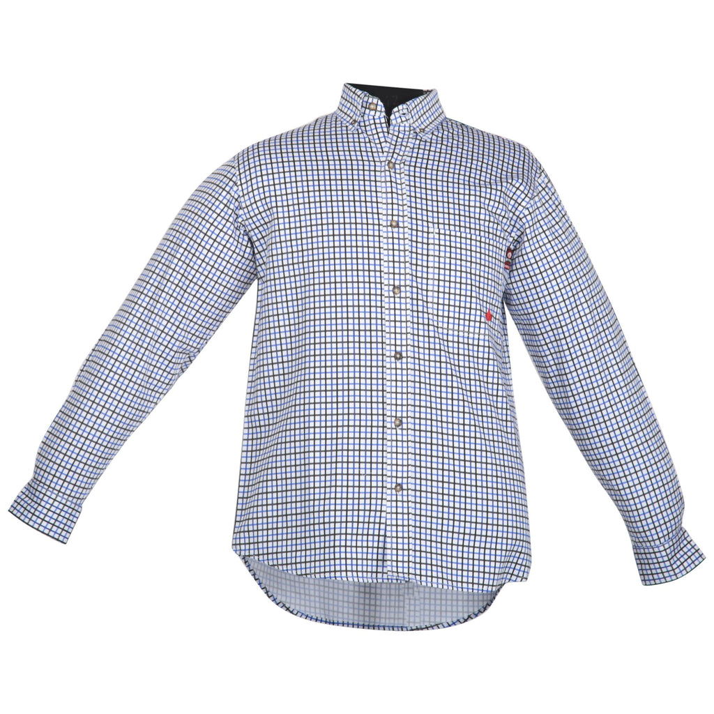 Forge FR Blue/Black Check Plaid Button Down Work Shirt