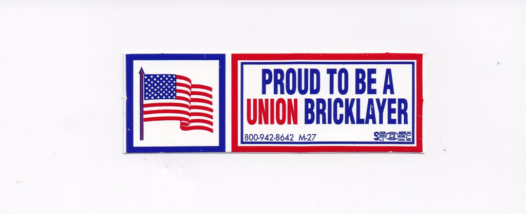 'Proud to be Union Bricklayer' Hard Hat Sticker #M27