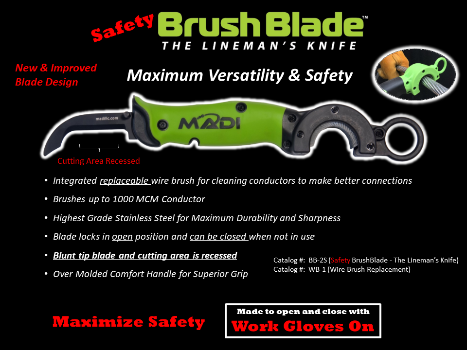 MADI BrushBlade Lineman's Knife - Safety Blade