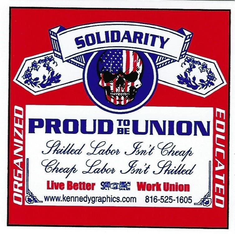 red, white, and blue with skull solidarity proud to be union hard hat sticker
