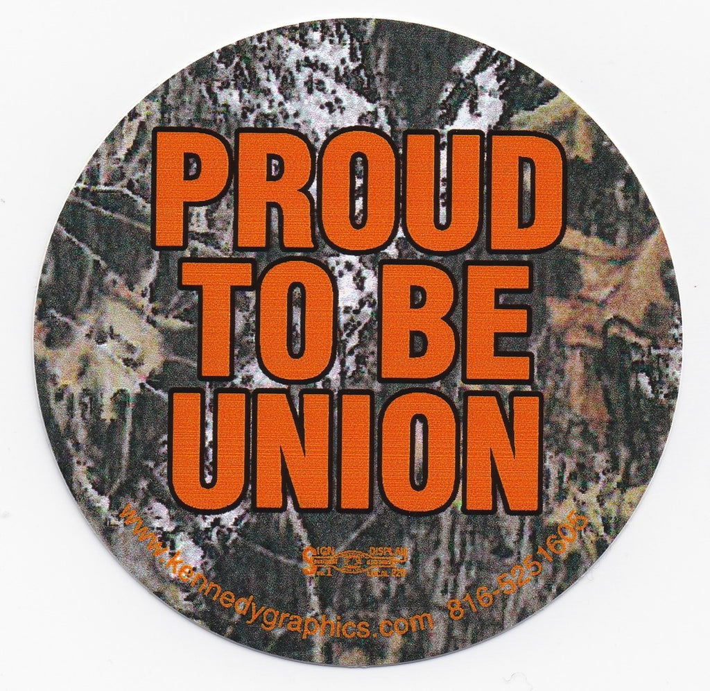 'Proud to be Union' Camo Hard Hat Sticker  S-104