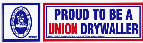 'Proud to be a Union Drywaller' Bumper Sticker #BP205