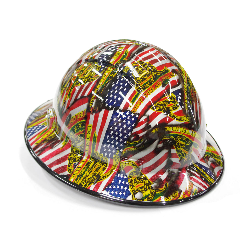 "HHG Custom Vented Full Brim Hard Hat ""Don't Tread on Me"""