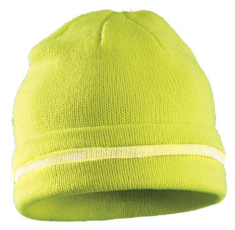 ERB Hi Vis Knit Cap, Silver Reflective Stripe, One Size, Yellow S109