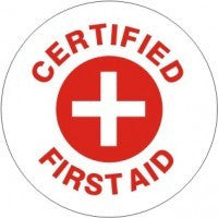 Certified First Aid Hard Hat Sticker