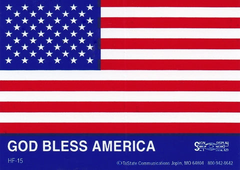 'God Bless America' American Flag Hard Hat Sticker