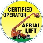 CERTIFIED OPERATOR AERIAL LIFT WITH COLOR LIFT TRUCK HARD HAT MARKER