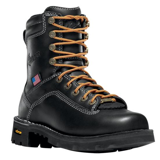 Black leather lace-up safety toe boot by Danner