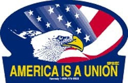 America is a Union hard hat sticker