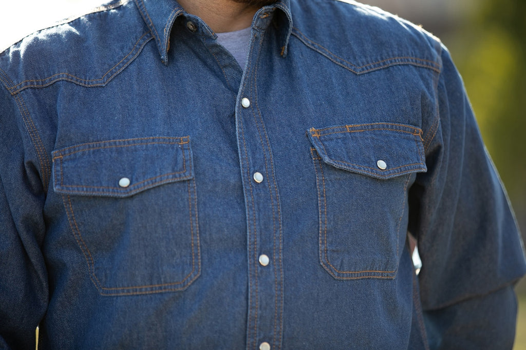 Key Snap Button, Western Style Denim Work Shirt 541.45