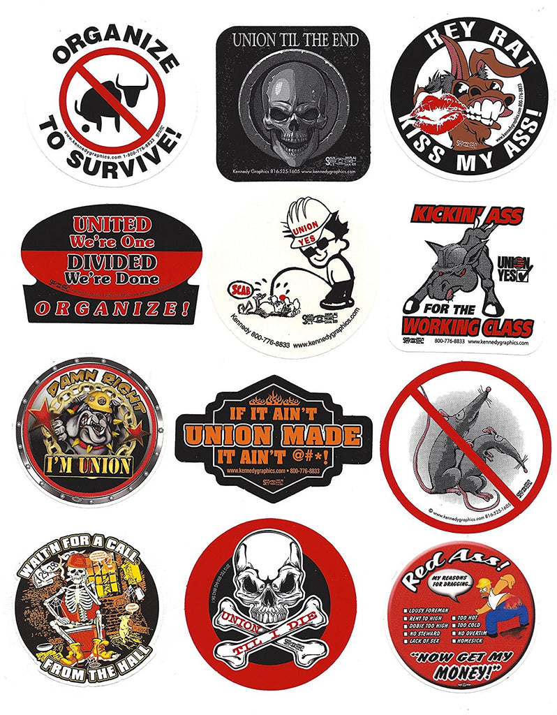 Union Hard Hat Sticker Mix 5 - 'The Dirty Dozen'