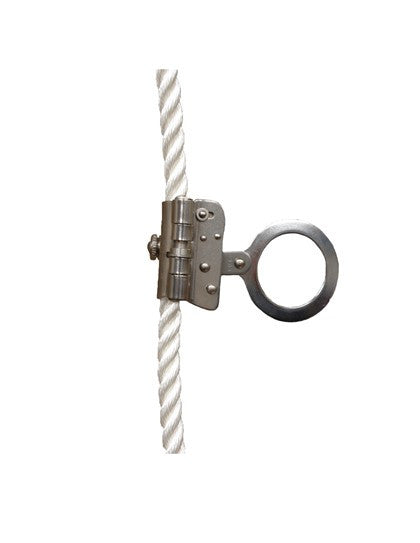 "Elk River Part #19260  5/8"" or 3/4"" Trailing Rope Grab. Connectors: 2"" ring. Anti-Inversion, Dual Size. Designed for use with 5/8"" or 3/4"" 3-strand synthetic rope. Anti Inversion gravity device built-in to alert up-side down installation. ANSI A10.32-2004; ANSI Z359.1-2007"