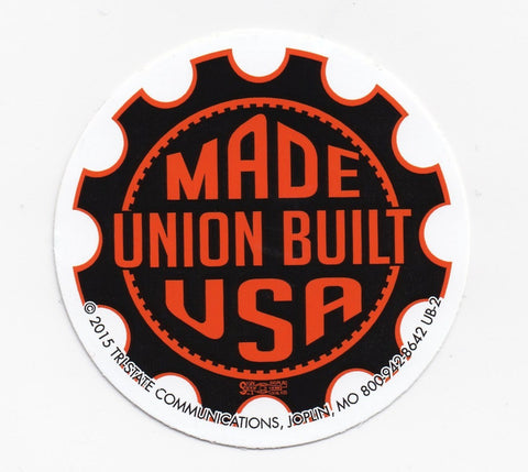'Union Built/ Made USA'  Black and Orange Gear Hard Hat Sticker