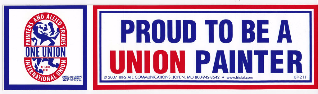 'Proud to be a Union Painter' Bumper Sticker #BP211