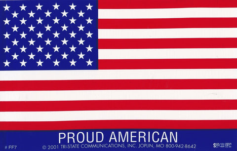 'Proud American' Large American Flag Sticker