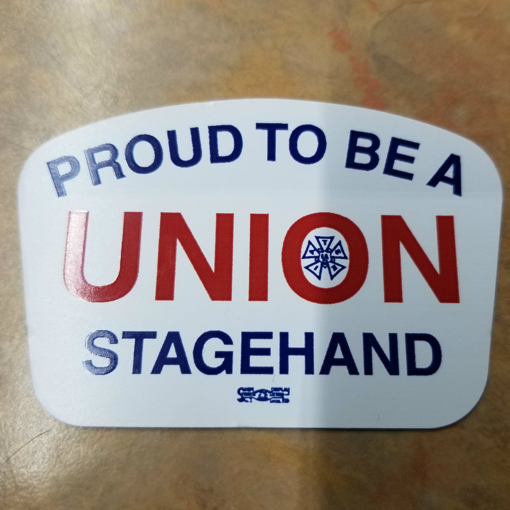 """Proud to be Union Stagehand"" Hard Hat Sticker #HS-PTB-SH"