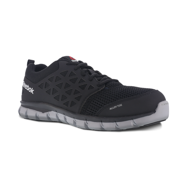 black Reebok athletic shoe with alloy toe