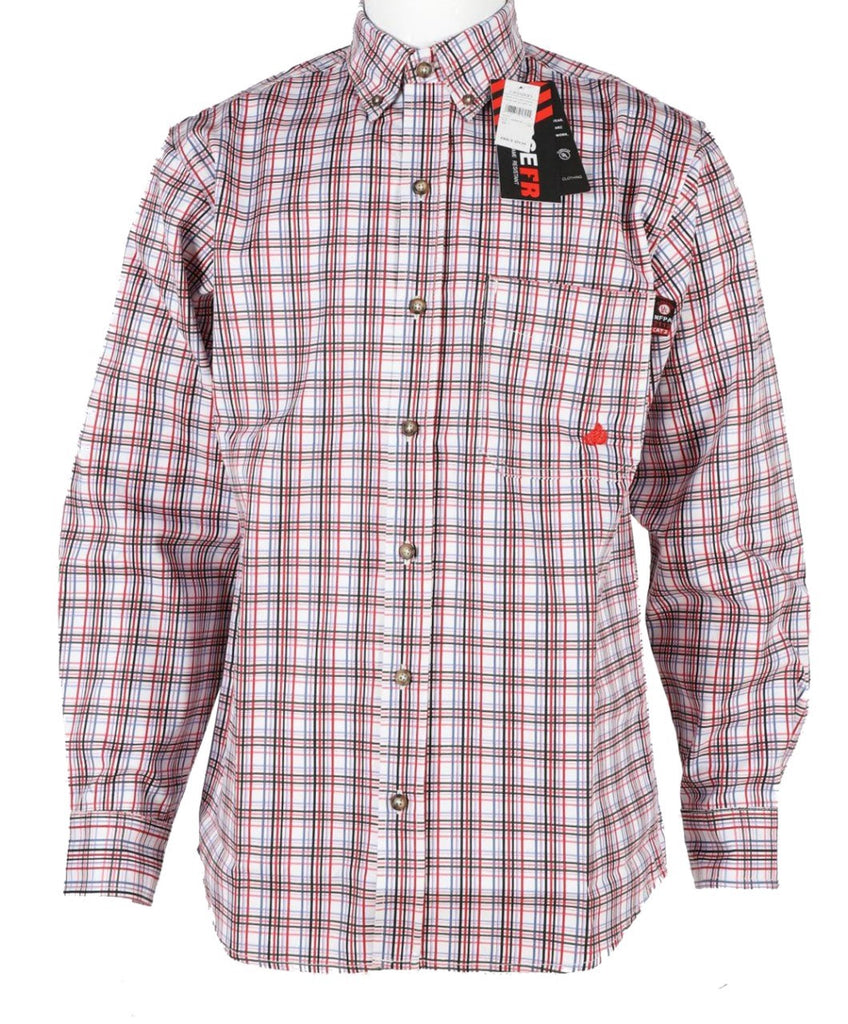 Forge FR Red Plaid Button Down Work Shirt