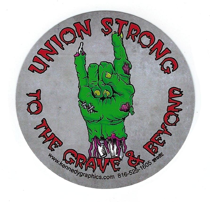 union strong to the grave & beyond zombie hand hard hat sticker