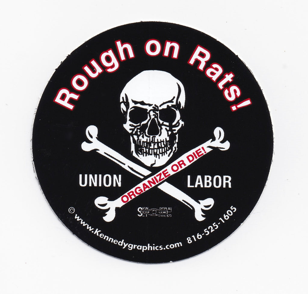'Rough On Rats' Skull & Cross Bone Hard Hat Sticker #S72