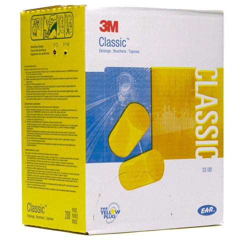 3M CLASSIC UNCORDED EARPLUGS - 200 PAIRS #310-1001
