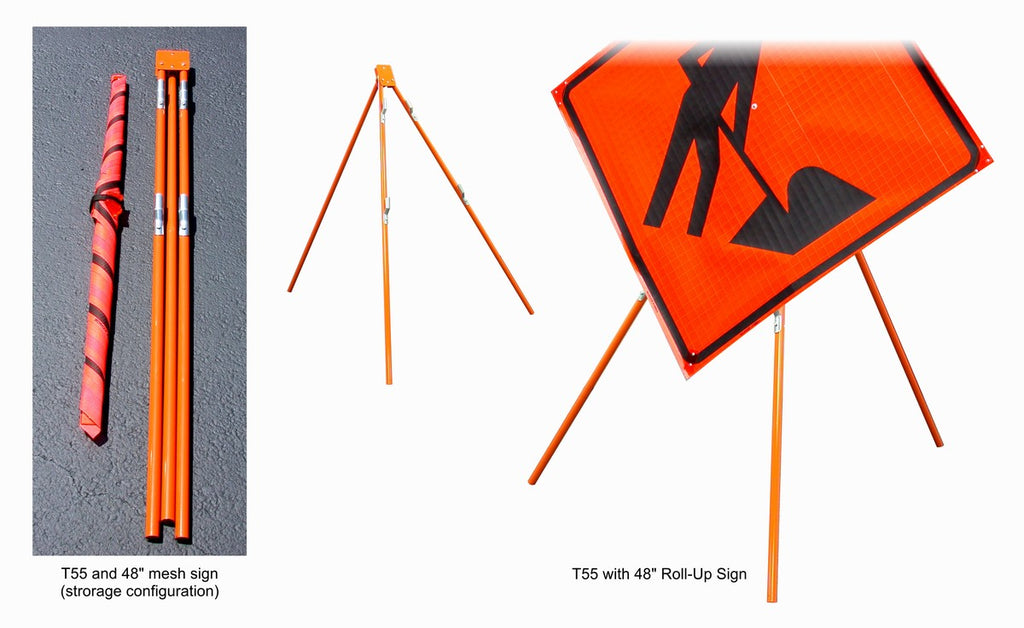 Dicke Safety Tripod Stand for Roll-Up and Rigid Signs #T55