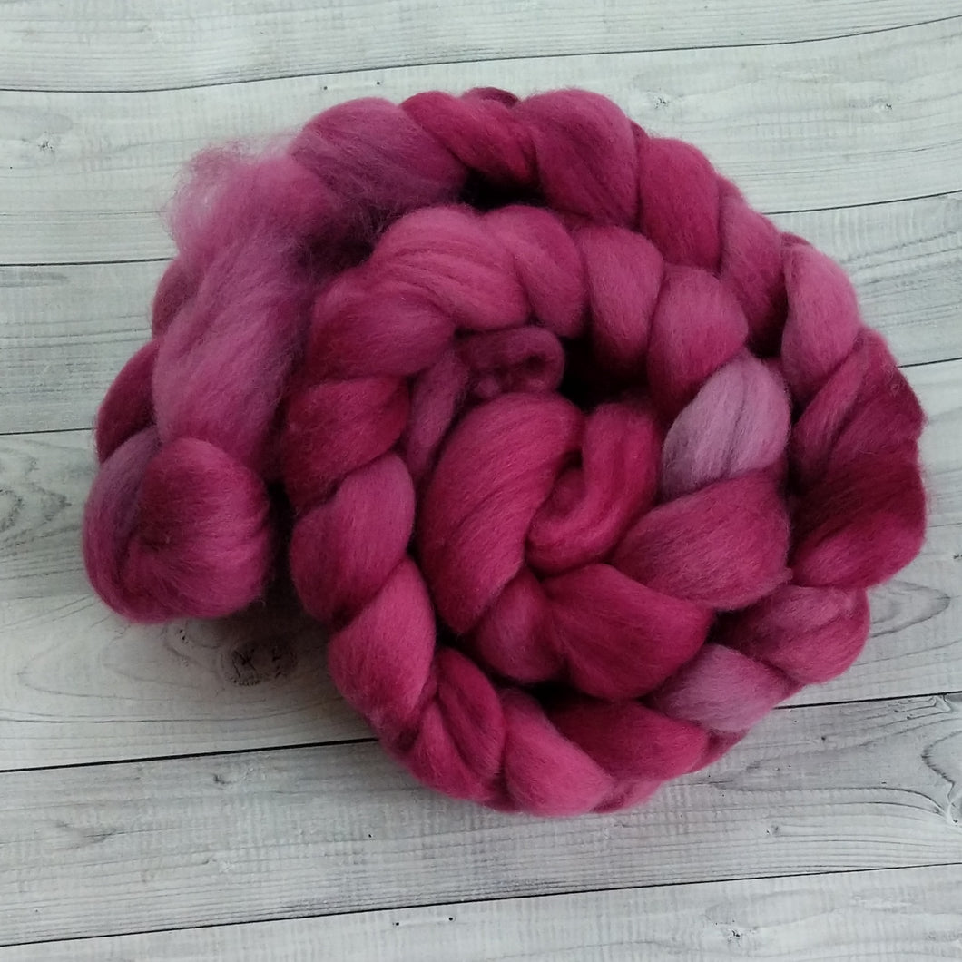 Rose Red, Polwarth Combed Top, 5.1 oz