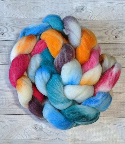 Flower Power, Polwarth Combed Top, Dyed to Order