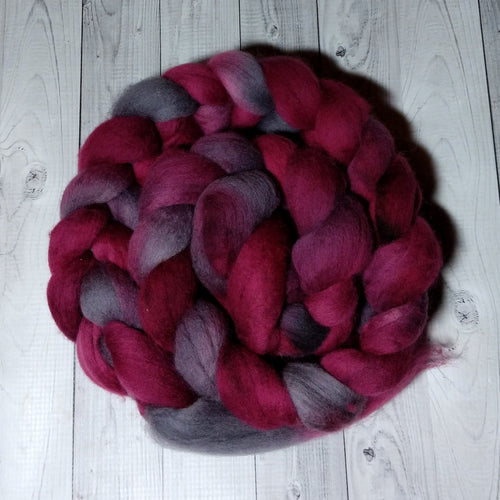 Raindrops on Roses, Polwarth Combed Top, Dyed to Order