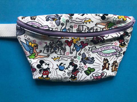 White Doodle Fanny Pack
