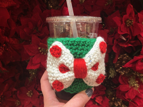 Christmas Bow Coffee Cozy